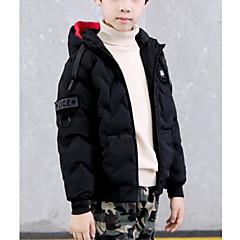 billige Jakker og frakker til drenge-Børn Drenge Basale Daglig Ensfarvet Langærmet Normal Bomuld / Polyester dun- og bomuldsforet Sort 150