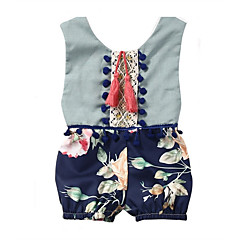 cheap Baby & Toddler Girl-Baby Girls' Basic Daily Floral Floral Style Sleeveless Cotton / Acrylic Romper Light Blue / Toddler