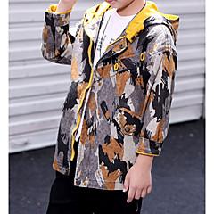 billige Jakker og frakker til drenge-Børn Drenge Basale Daglig Geometrisk Langærmet Normal Polyester Jakke og frakke Gul 150