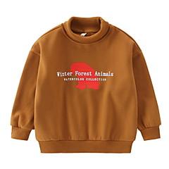 billige Hættetrøjer og sweatshirts til drenge-Børn Drenge Basale Ensfarvet Langærmet Polyester Hættetrøje og sweatshirt Brun 140