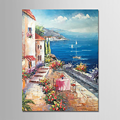 cheap Oil Paintings-Oil Painting Hand Painted - Landscape Modern Rolled Canvas