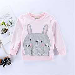 billige Hættetrøjer og sweatshirts til piger-Børn / Baby Pige Trykt mønster Langærmet Hættetrøje og sweatshirt