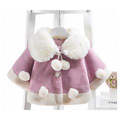 billige Overtøj til babyer-Baby Pige Basale Daglig Ensfarvet Langærmet Normal Bomuld / Polyester Trenchcoat Lyserød 100