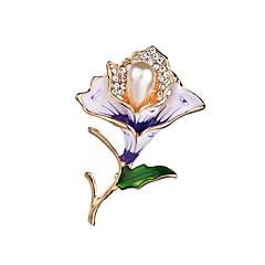 billige Motebrosjer-Dame Klassisk Nåler - Blomst damer, Unikt design Brosje Smykker Lilla / Rød Til Aftenselskap / Arbeid