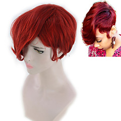 billiga Peruker och hårförlängning-Syntetiska peruker Dam Yaki Rakt Röd Gratis del Syntetiskt hår 8INCH Justerbar / Värmetåligt / Dam Röd Peruk Korta Utan lock Stor / Ja