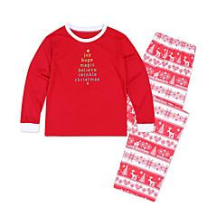 billige Sett med familieklær-Voksen / Barn / Baby Familie Look Grunnleggende Jul / Daglig Geometrisk Langermet Normal Polyester Genser og cardigan Grønn Jenter 110