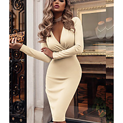 Women's Party / Daily / WorkWear Basic Slim Bodycon / Sheath Dress - Solid Colored Wrap Deep V Green Red Beige L XL XXL / Sexy