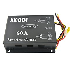cheap Vehicle Power Inverter-Xincol® Vehicle Car DC 24V to 12V 60A Power Supply Transformer Converter with Dual Fan Regulation-Black