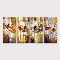 cheap Wall Art-Oil Painting Hand Painted - Abstract Classic Pastoral Modern With Stretched Frame / Four Panels / Stretched Canvas