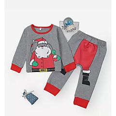 billige Tøjsæt til piger-Baby Pige Aktiv Daglig Ensfarvet / Geometrisk Langærmet Normal Normal Polyester Tøjsæt Grå