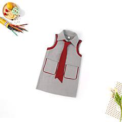 billige Pigekjoler-Børn Pige Sød Daglig Ensfarvet Uden ærmer Midi Polyester Kjole Grå 140