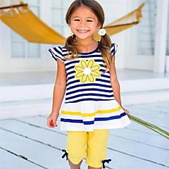 billige Tøjsæt til piger-Børn Pige Basale Daglig Daisy Stribet Trykt mønster Uden ærmer Lang Lang Polyester Tøjsæt Gul