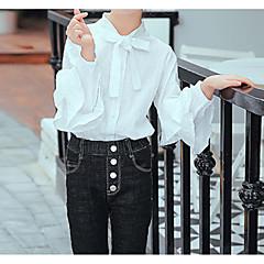 billige Pigetoppe-Børn / Baby Pige Basale / Gade Ensfarvet Langærmet Bomuld / Rayon Skjorte Hvid