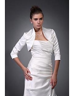 Bruiloft Wraps Jassen / Jackets 3/4-Lengte Mouw Satijn Ivoor Bruiloft / Feest/Avond Hoge Nek T-shirt Open Voorkant