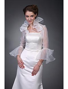 billige Brudesjaler-Halvlange ærmer Polyester Fest / aften Wraps til damer Bryllup Wraps With Broderi Frakke / jakke