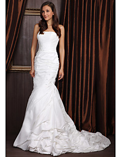 cheap True Allure-Mermaid / Trumpet Strapless Court Train Taffeta Wedding Dress with Beading by LAN TING BRIDE®
