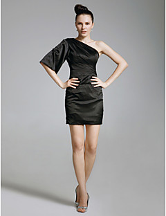 billiga Kändisklänningar-Åtsmitande Enaxlad Kort / mini Charmeuse Cocktailfest / Helgdag Klänning med Sidodraperad av TS Couture®