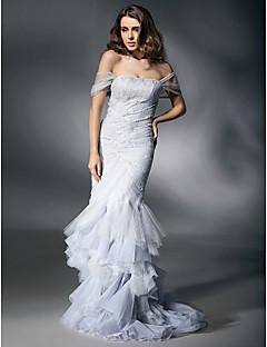 인 어 / 트럼펫 연인 오프 - 더 - 어깨 스윕 / 브러시 기차 레이스 이브닝 드레스와 레이스 ts couture®
