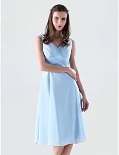 tanie Królewski błękit-Krój A Księżniczka W serek Do kolan Szyfon Sukienka dla druhny z Krzyżowe przez LAN TING BRIDE®
