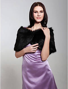 cheap -Sleeveless Faux Fur Wedding Party Evening Fur Wraps Shrugs