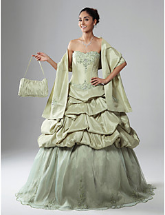 a-line ball gown strapless scalloped floor lengthオーガンザタフタパーティードレスアップリッツwith tscouture®