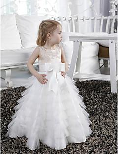 tanie Ślub z motywem przewodnim-Krój A Sięgająca podłoża Sukienka dla dziewczynki z kwiatami - Satyna Tiul Bez rękawów Zaokrąglony z Koraliki przez LAN TING BRIDE®