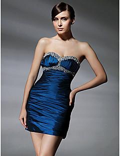 Sütun Kalp Yaka Kısa / Mini Tafta Kokteyl Partisi Mezunlar Günü Elbise ile Boncuklama Drape Dantelalar tarafından TS Couture®