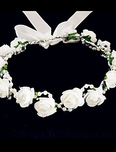cheap Flower Girl Headpiece-Crystal Fabric Foam Tiaras Flowers 1 Wedding Special Occasion Party / Evening Casual Headpiece