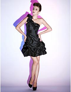 billiga Klänningar till speciella tillfällen-Prinsessa Enaxlad Kort / mini Taft Cocktailfest / Återföreningsfest / Helgdag Klänning med Pickup-kjol Blomma Krusad av TS Couture®