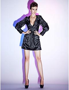 billiga Den lilla svarta-Åtsmitande V-hals Kort / mini Stretchig satäng Den lilla svarta / Kändis Stil Cocktailfest Klänning med Paljett / Sidodraperad av TS Couture®