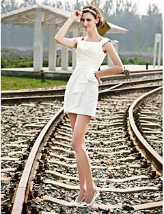 billiga Åtsmitande brudklänningar-Åtsmitande Fyrkantig hals Kort / mini Satäng Bröllopsklänningar tillverkade med Sidodraperad av LAN TING BRIDE®