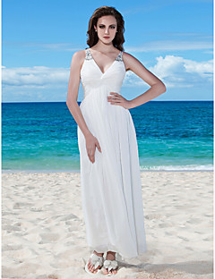 cheap Wedding Dresses-A-Line V Neck Floor Length Chiffon Made-To-Measure Wedding Dresses with Beading / Ruched / Button by LAN TING BRIDE® / Little White Dress
