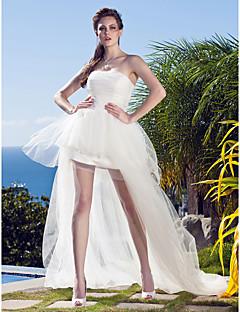 billiga Balbrudklänningar-Prinsessa Axelbandslös Asymmetrisk Tyll Bröllopsklänningar tillverkade med Applikationsbroderi av LAN TING BRIDE® / Liten vit klänning
