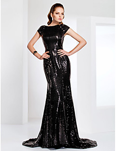 Mermaid / Trumpet Bateau Neck Sweep / Brush Train Sequined Formal Evening Military Ball Black Tie Gala Dress with Sequins by TS Couture®