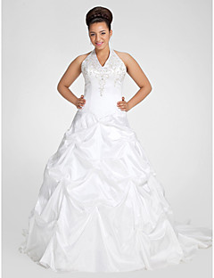 cheap Plus Size Wedding Dresses-Ball Gown V-neck Chapel Train Taffeta Wedding Dress with Beading Embroidered Pick-Up by LAN TING BRIDE®