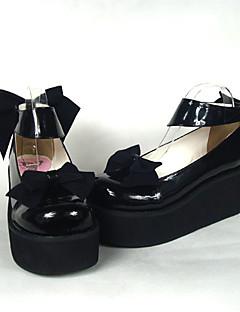 billiga Lolitamode-Skor Söt Lolita Söt Lolita Högklackat Skor Rosett 6.5 cm CM Till PU-läder / Polyuretan Läder Polyuretan Läder Halloweenkostymer