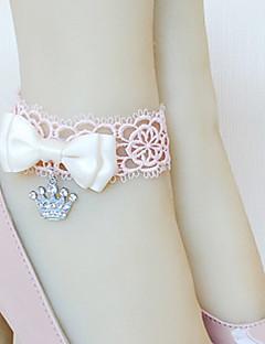 baratos Tipos de Bijuteria-Handmade rosa Lace Coroa Pingente Tornozeleira Princesa com Arco