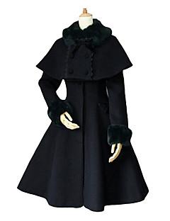 billiga Lolitaklänningar-Sweet Lolita Prinsessa Dam Kappa Cosplay Vit Svart Blå Långärmad Medium längd