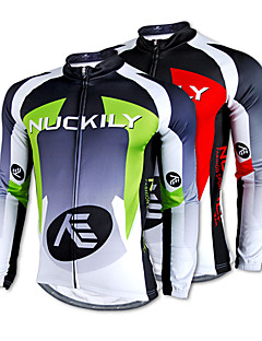 Nuckily Cycling Jersey Men's Long Sleeves Bike Jersey Top Thermal / Warm Quick Dry Fleece Lining Ultraviolet Resistant 100% Polyester