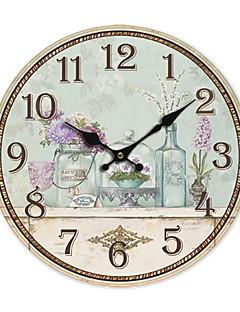 Χαμηλού Κόστους Ξύλινα Ρολόγια Τοίχου-χώρα floral ρολόι τοίχου