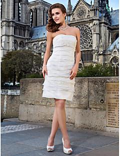 billiga Brudklänningar-Åtsmitande Axelbandslös Knälång Spets / Organza Bröllopsklänningar tillverkade med Lager av LAN TING BRIDE® / Liten vit klänning