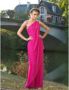 billiga Aftonklänningar-Jumpsuit Enaxlad Golvlång Chiffong Formell kväll Klänning med Kristalldetaljer av TS Couture®