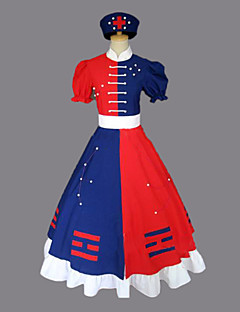 cheap Videogame Costumes-Inspired by TouHou Project Eirin Yagokoro Video Game Cosplay Costumes Cosplay Suits Dresses Color Block Short Sleeves Dress Belt Hat