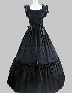 billiga Lolitamode-Prinsessa Gotisk Lolita Ruffle Dress Satin Dam Klänningar Cosplay Svart Holk Lång längd Halloweenkostymer