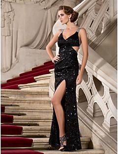 billiga Kändisklänningar-Åtsmitande V-hals remmar Golvlång Paljetter Formell kväll / Formell fest Klänning med Paljett Delad framsida av TS Couture®
