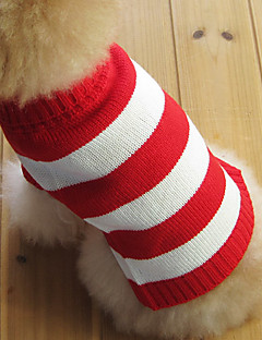Cat Dog Sweater Dog Clothes Fashion Christmas Stripe Red