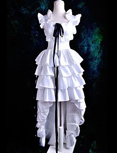 """billige Anime Kostymer-Inspirert av Chobits Chii Anime  """"Cosplay-kostymer"""" Cosplay Klær / Kjoler Ensfarget Kortermet Kjole / Bånd Til Dame Halloween-kostymer"""