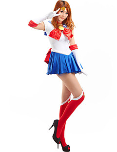 Innoittamana Sailor Moon Sailor Moon Anime Cosplay-asut Cosplay Puvut Patchwork Hihaton Solmio Leninki Käsineet Sukat Ribbon