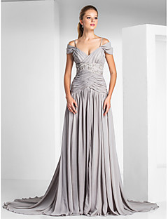 저렴한 특별한 이벤트 드레스-A-라인 스파게티 스트랩 코트 트레인 쉬폰 샤르뫼즈 포멀 이브닝 드레스 와 비즈 드레이핑 앞면 트임 으로 TS Couture®