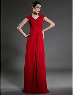 baratos Vestidos para as Mães dos Noivos-Tubinho Decote V Longo Chiffon Vestido Para Mãe dos Noivos com Renda Cruzado de LAN TING BRIDE®